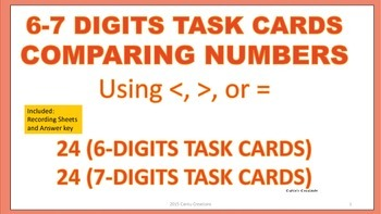 Comparing Numbers Task Cards (6-7 digits numbers)