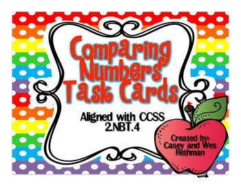 Comparing Numbers Task Cards {Greater than, less than or e
