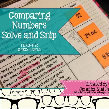 Comparing Numbers Word Problems Solve and Snip- Common Cor