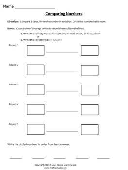 Comparing Numbers Worksheet K-5