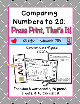 Comparing Numbers to 20: Press Print, That's It!