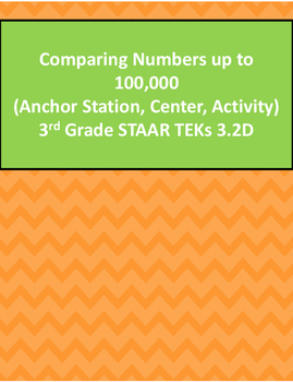 Comparing Numbers up to 100,000 Activity 3rd Grade STAAR T