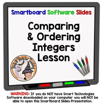 Comparing and Ordering Integers Smartboard Lesson Compare