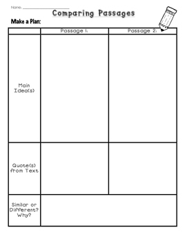 Comparing Passages Writing Template