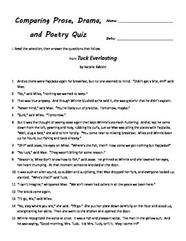 Comparing Prose, Poetry, and Drama Quiz for Fourth Grade