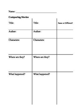 Comparing Stories Organizer