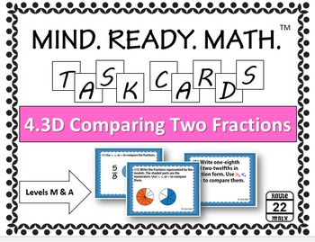 Comparing Two Fractions Task Cards TEKS 4.3D