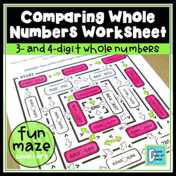 Comparing Whole Numbers Maze - 4 digits