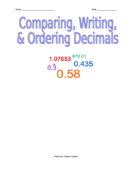 Comparing, Writing, and Ordering Decimals
