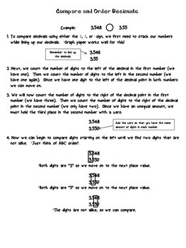 Comparing and Ordering Decimals-Student Note Page (FREEBIE)