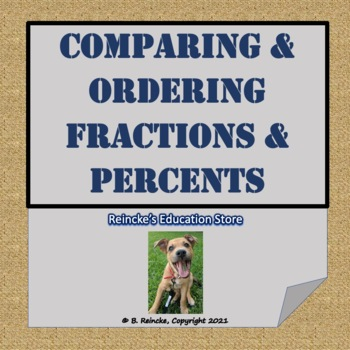 Comparing and Ordering Fractions and Percents Worksheet fo
