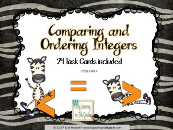 Comparing and Ordering Integers Task Cards