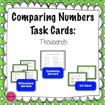 Comparing and Ordering Numbers Task Cards: Thousands Period
