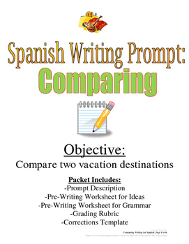 Comparing in Spanish Writing Prompt