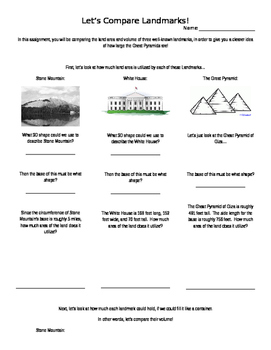 Comparing the Area and Volume of Landmarks