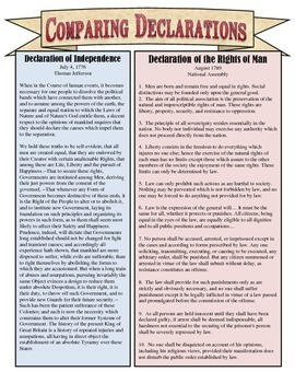 Printables American Declaration Of Independence Worksheet Answers comparing the declaration of independence by students of