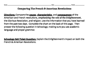 Comparing the French and American Revolutions Chart Worksheet