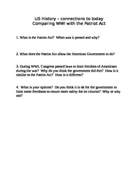 Comparing the Patriot Act to laws passed during WWI