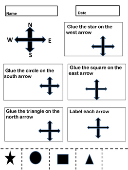 Cardinal Directions Cut and Glue Activity