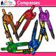 Rainbow Compass Clip Art {Measurement Tools for Math Resources}