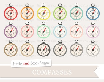 Compass Clipart; Nautical, Sailing, Sailor, Ship, Boat, Camping