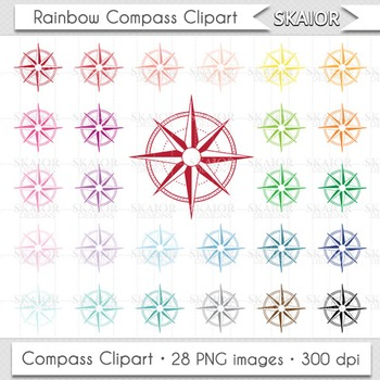 Compass Clipart Rainbow Compass Clip Art Rose of Winds Pri