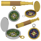 Compass Clipart, Telescope Clipart, Summer Camping Commerc