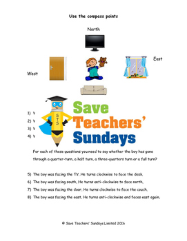 Compass points and turns (in a room) worksheets  (3 levels