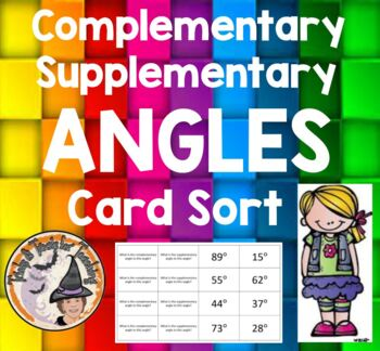 Complementary Supplementary Angles Card Sort Game Complime