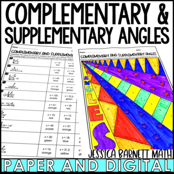 Complementary and Supplementary Angles Coloring Page Activity