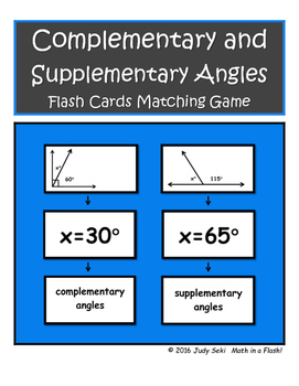Complementary and Supplementary Angles Flash Cards Matching Game