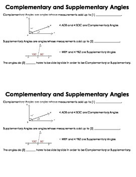 Complementary and Supplementary Angles Guided Notes