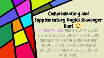 Complementary and Supplementary Angles Scavenger Hunt (wit