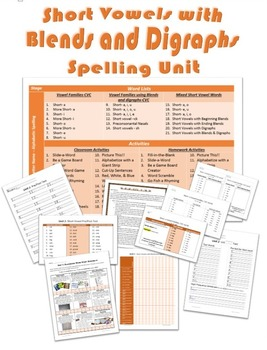 Complete 21 Week Spelling Unit on Short Vowels with Blends