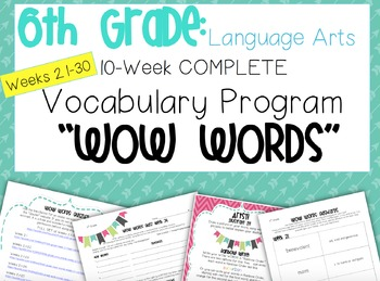 Complete 6th Grade Language Arts Vocabulary Program Weeks 21-30