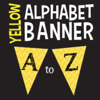 Complete Alphabet Yellow Chevron Pennant Banner