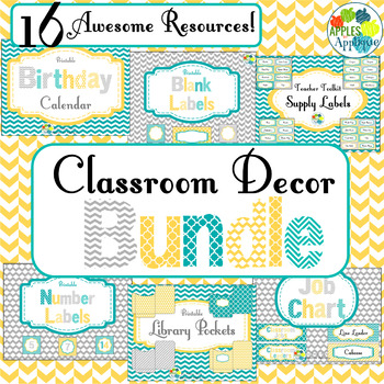 Complete Classroom BUNDLE in Yellow Teal and Gray
