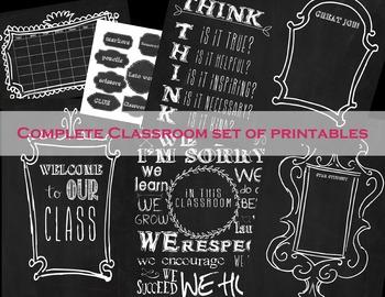 Complete Classroom Chalkboard Printable set
