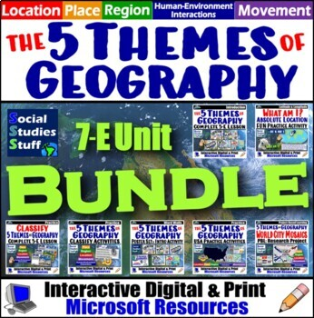 Complete 5 Themes of Geography Unit Emphasizing US Geograp
