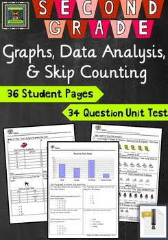 2nd Grade Math Unit & Test: Graphs, Data Analysis, Skip Co