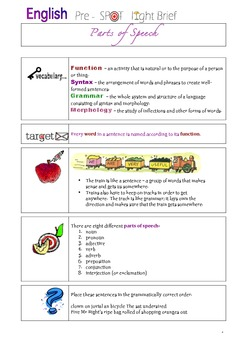 Complete Parts of Speech year Student workbook