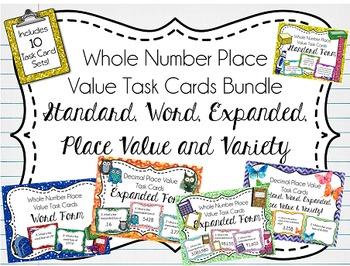 Complete Place Value Task Cards Bundle, Whole & Decimal Nu