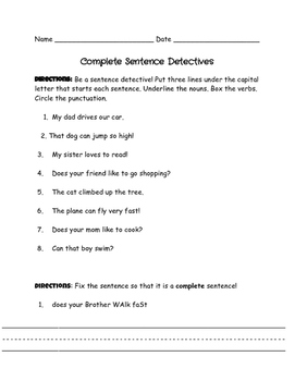 Complete Sentence Detectives
