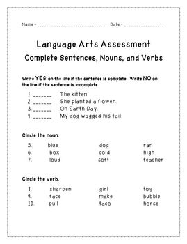 Complete Sentence, Noun, and Verb Assessment with Student