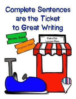 Complete Sentence or Fragment Partner Game and Practice Worksheet