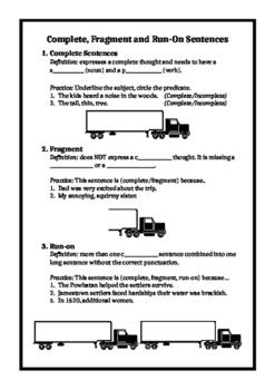 Complete Sentences Notes