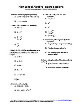Complete Set 20 Algebra I Board Sessions,Review WITH solut