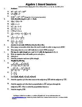 Complete Set 20, M.S. Algebra Board Sessions,Common Core,R