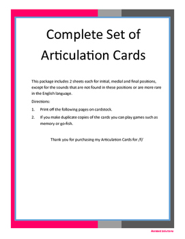 Complete Set of Articulation Cards