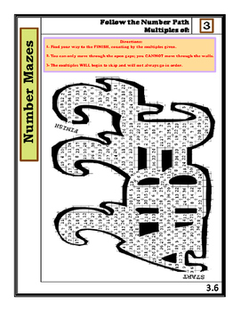 Complete Set of Number Mazes: Follow the Number Path- Mult